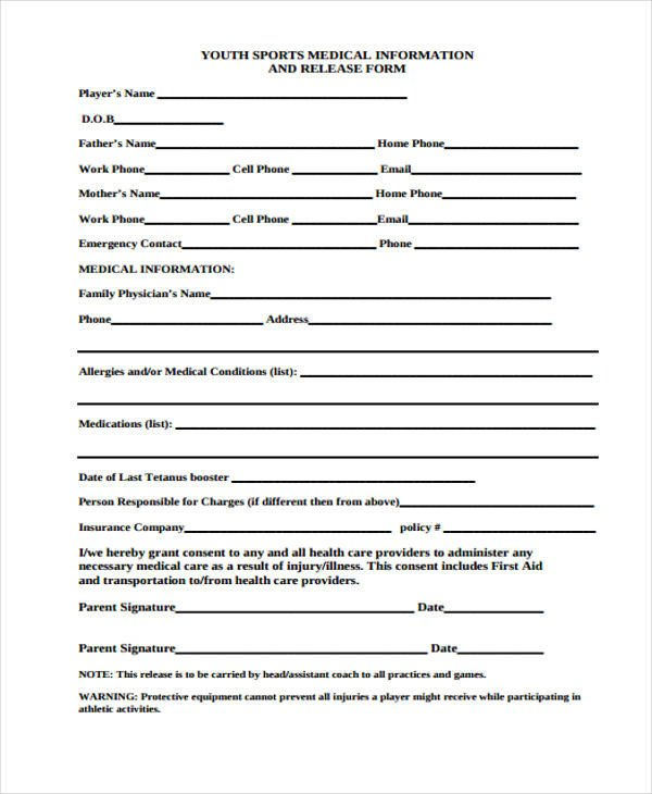 Medical Release forms Template 24 Medical Release form Templates