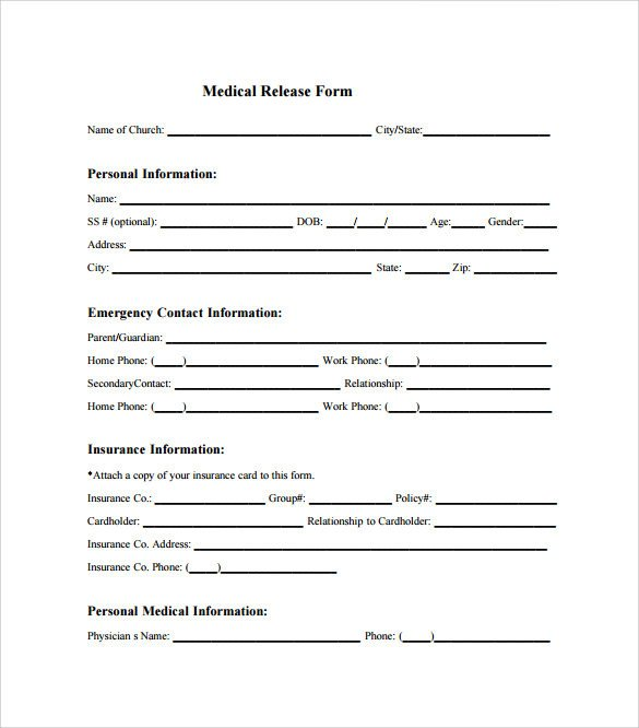 Medical Release forms Template Sample Medical Release form 10 Free Documents In Pdf Word