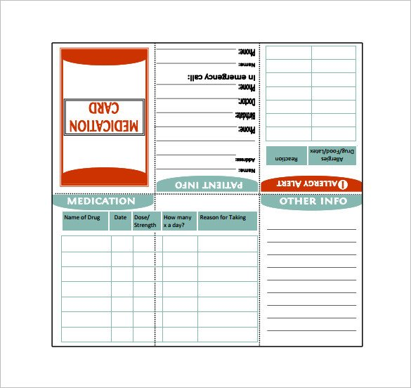 Medical Wallet Card Template 7 Medication Card Templates Doc Pdf