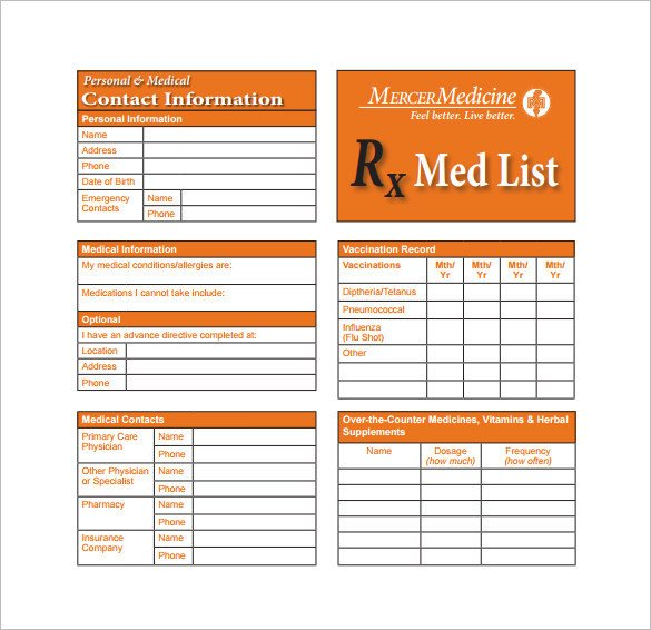 Medical Wallet Card Template 8 Medication Card Templates Doc Pdf