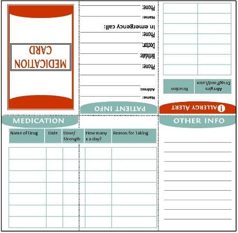 Medical Wallet Card Template Fold to Wallet Size Medication Information Card