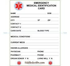 Medical Wallet Card Template Free Printable Medical Id Cards