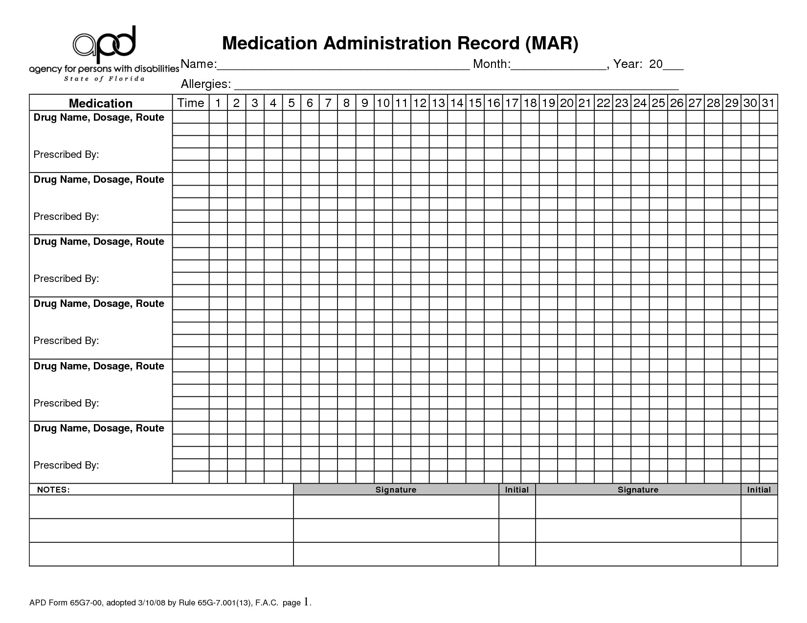 Medication Administration Record Template Excel 5 Best Of Printable Home Med Blank Medication