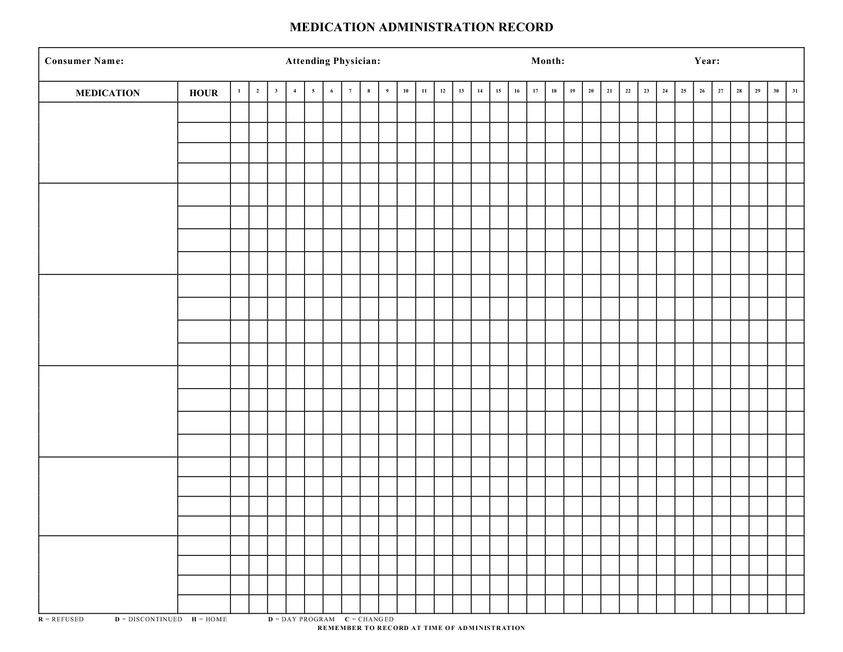Medication Administration Record Template Excel Blank Medication Administration Record Template