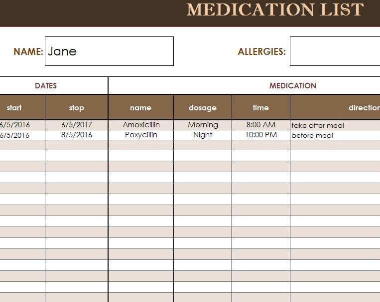 Medication Administration Record Template Excel Free Medication Administration Record Template Excel