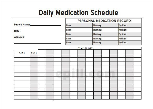 Medication Administration Record Template Excel Medication Schedule Template 8 Free Word Excel Pdf