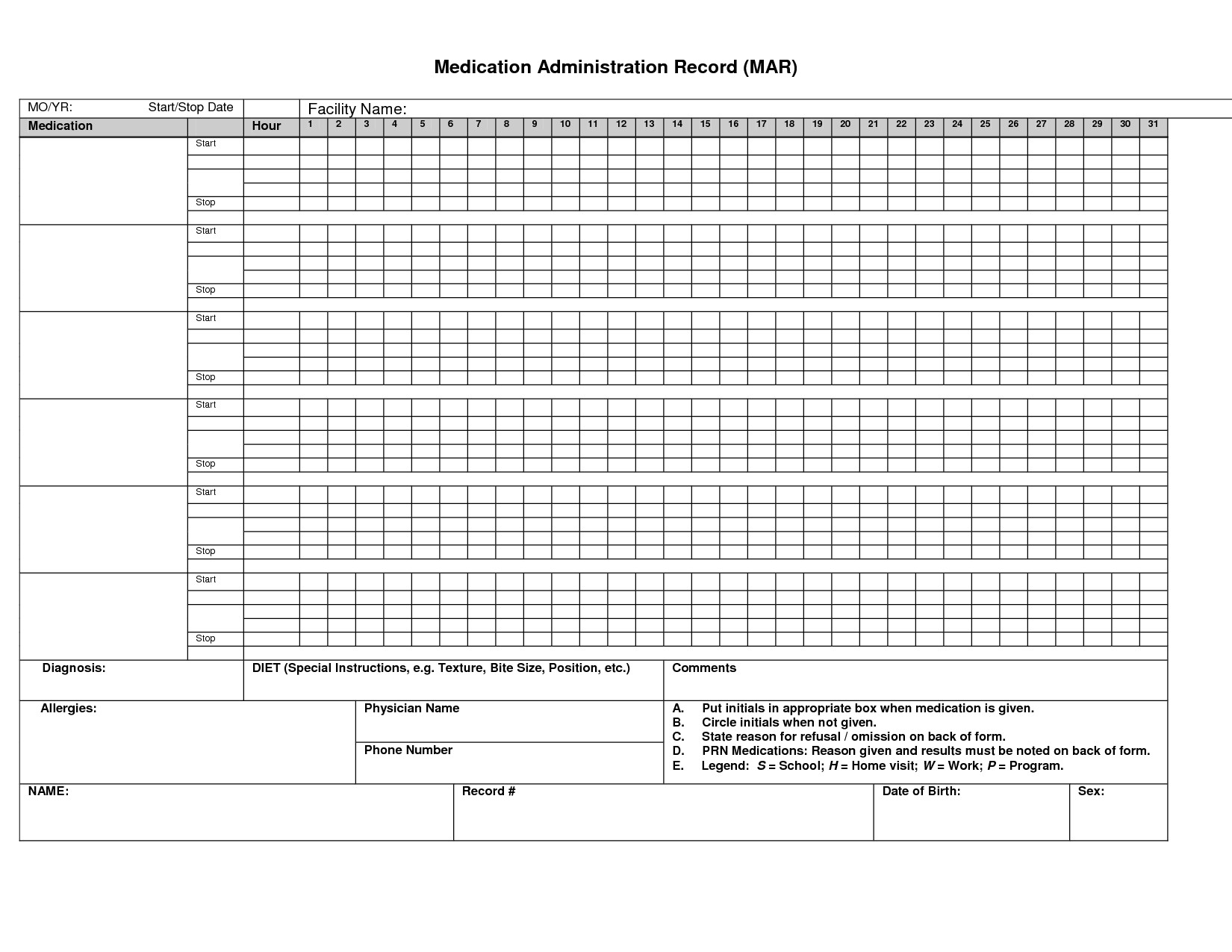 Medication Administration Record Template Pdf 9 Best Of Printable Medication Administration