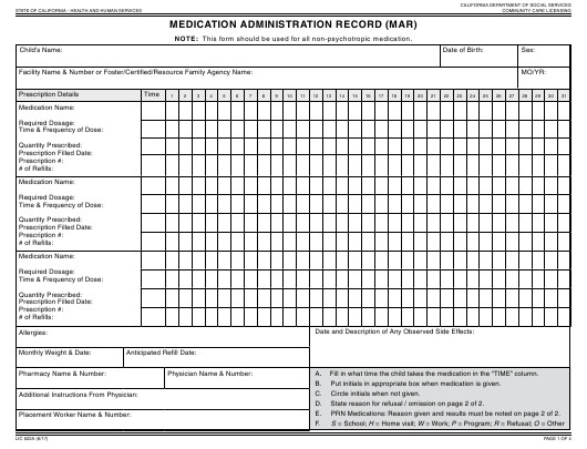 Medication Administration Record Template Pdf form Lic 622a Download Fillable Pdf Medication