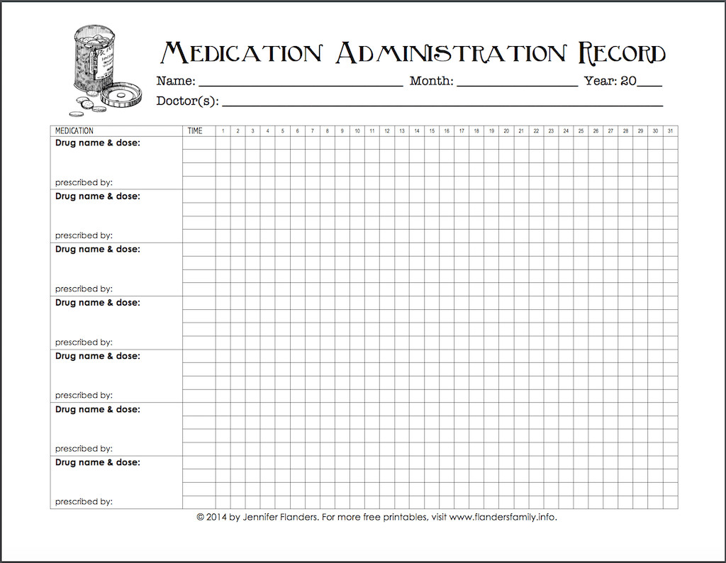 Medication Administration Record Template Pdf Keeping Track Of Medications Free Printable Chart