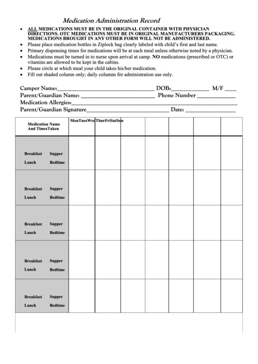 Medication Administration Record Template Pdf Medication Administration Record form Printable Pdf