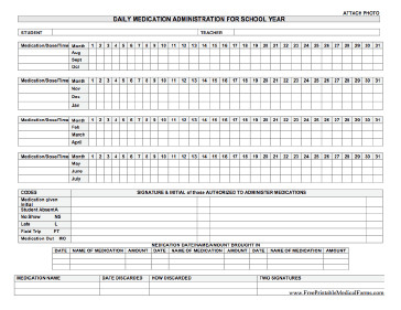 Medication Administration Record Template Pdf Printable Daily Medication Administration for School Year