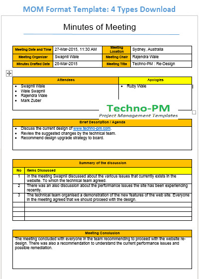 Meeting Minute Template Excel Mom format Template 4 Types Download Project Management