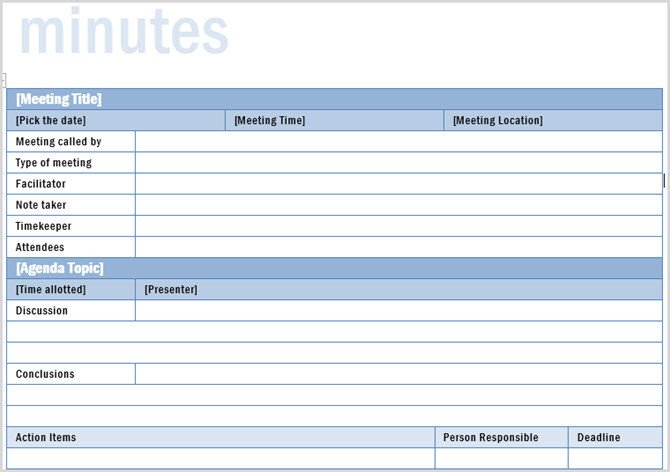 Meeting Minute Template Excel the 12 Best Meeting Minutes Templates for Professionals