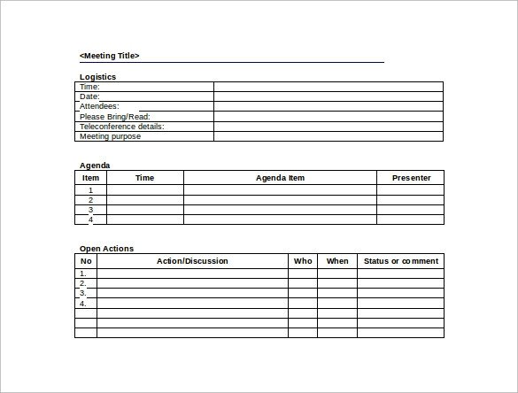 Meeting Minutes Template Word 44 Sample Meeting Minutes Template Google Docs Apple