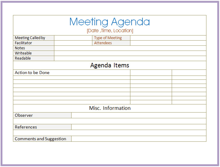 Meeting Minutes Template Word Basic Meeting Agenda Template formal & Informal Meetings