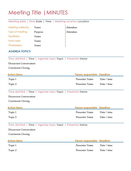 Meeting Minutes Template Word Meeting Minutes