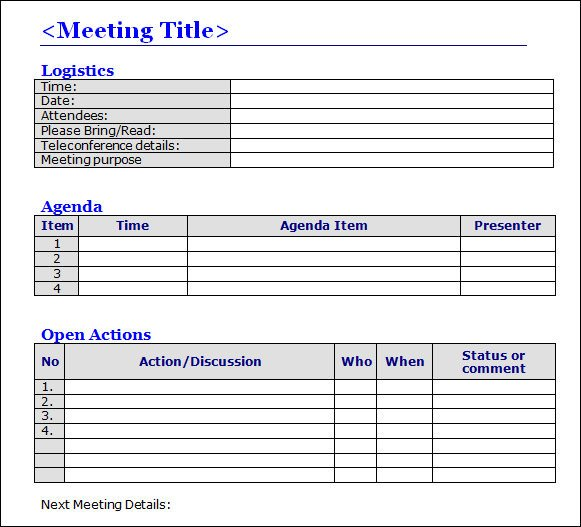 Meeting Minutes Template Word Meeting Minutes Template 16 Download Free Documents In