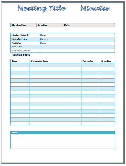 Meeting Minutes Template Word Meeting Minutes Template