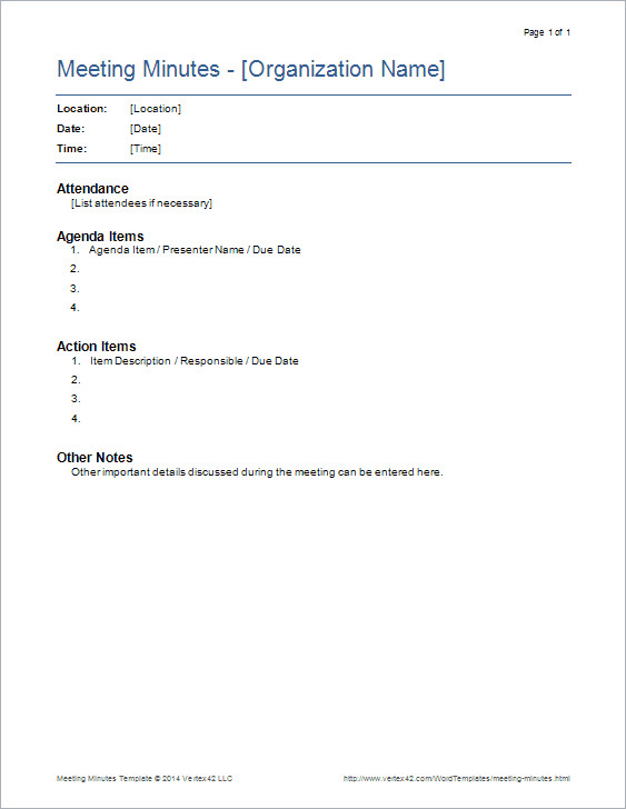 Meeting Minutes Template Word Meeting Minutes Templates for Word