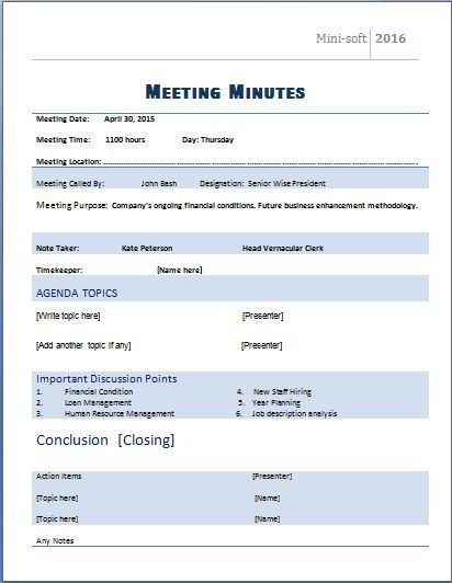Meeting Minutes Template Word Ms Word formal Meeting Minutes Template