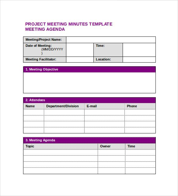 Meeting Minutes Template Word Sample Project Meeting Minutes Template 13 Documents In