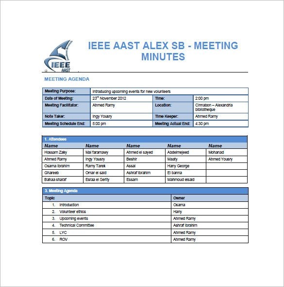 Meeting Notes Template Excel 14 Project Meeting Minutes Template Google Docs Word