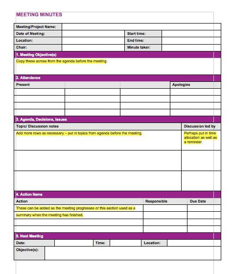 Meeting Notes Template Excel 20 Handy Meeting Minutes & Notes Templates Free Template