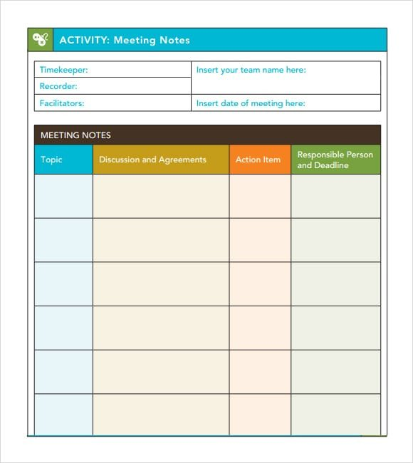 Meeting Notes Template Excel 7 Free Meeting Minutes Templates Excel Pdf formats