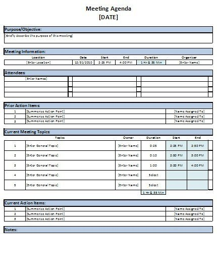 Meeting Notes Template Excel Free Excel Meeting Agenda Template Download