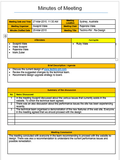 Meeting Notes Template Excel Meeting Minutes Template Excel and Word Free Download