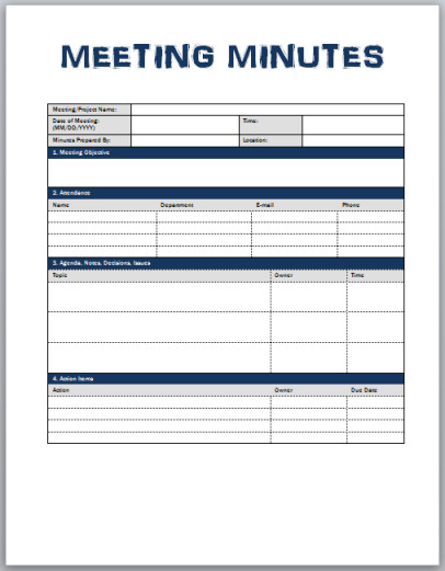 Meeting Notes Template Excel Minutes Meeting Template
