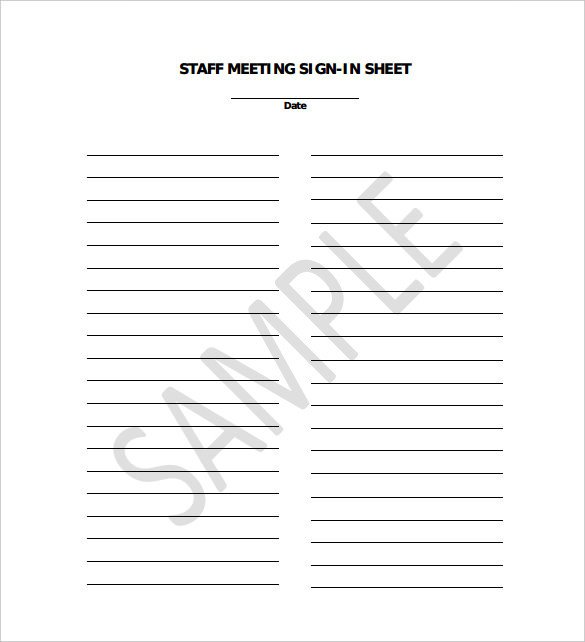 Meeting Sign In Sheet 18 Sign In Sheet Templates – Free Sample Example format