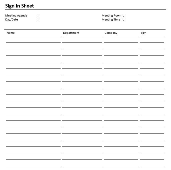 Meeting Sign In Sheet 8 Free Sample Safety Sign In Sheet Templates Printable