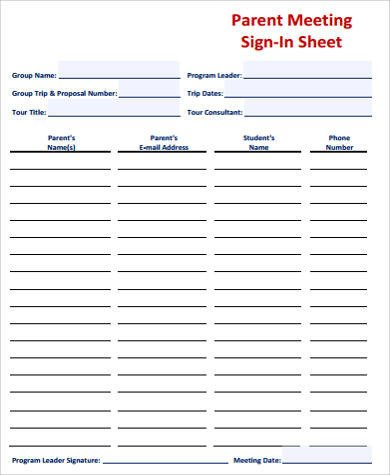 Meeting Sign In Sheet Sample Meeting Sign In Sheet 8 Examples In Word Pdf