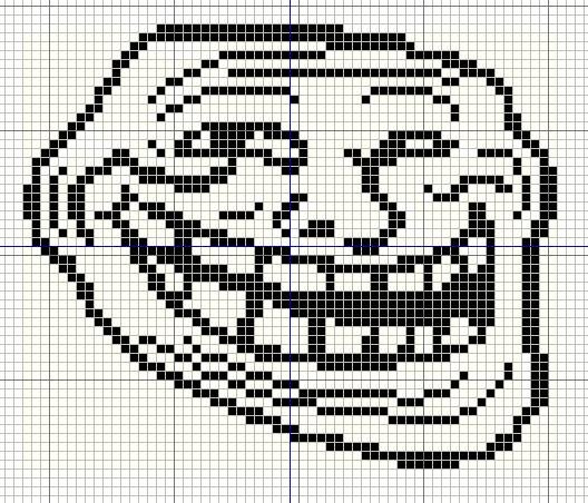 Meme Pixel Art Grid Buzy Bobbins Trollface Coolface Problem Meme Cross