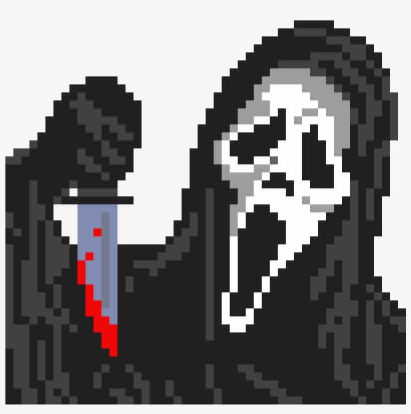 Meme Pixel Art Grid Ghost Face Minecraft Halloween Pixel Art Grid Png Image