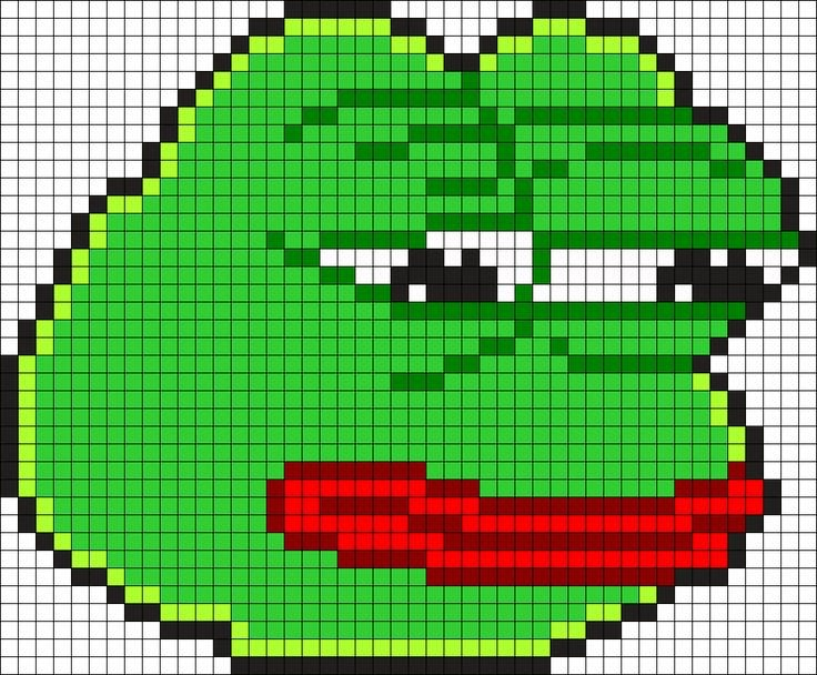 Meme Pixel Art Grid Pepe the Frog Perler Bead Pattern