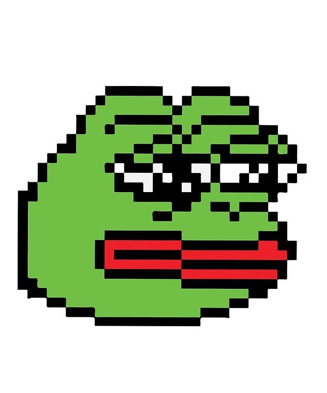 "Meme Pixel Art Grid ""pixelated Pepe Sad Frog Meme Rare Dank "" Metal Prints"