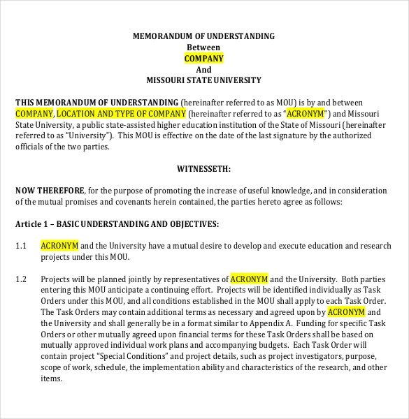 Memo Of Understanding Template 41 Memorandum Of Understanding Templates Pdf Google