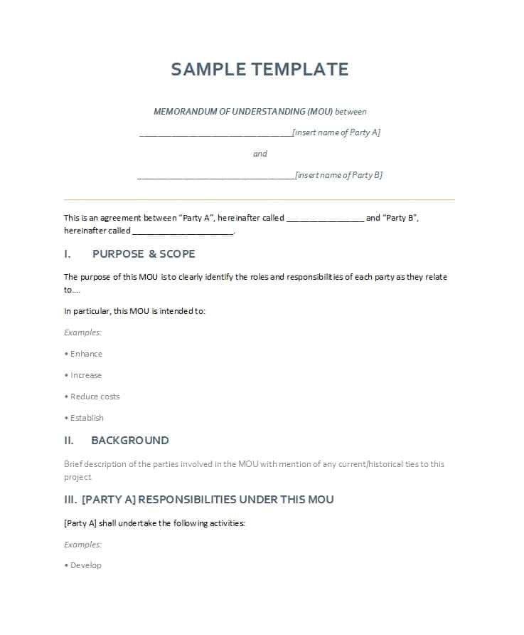 Memo Of Understanding Template 50 Free Memorandum Of Understanding Templates [word]