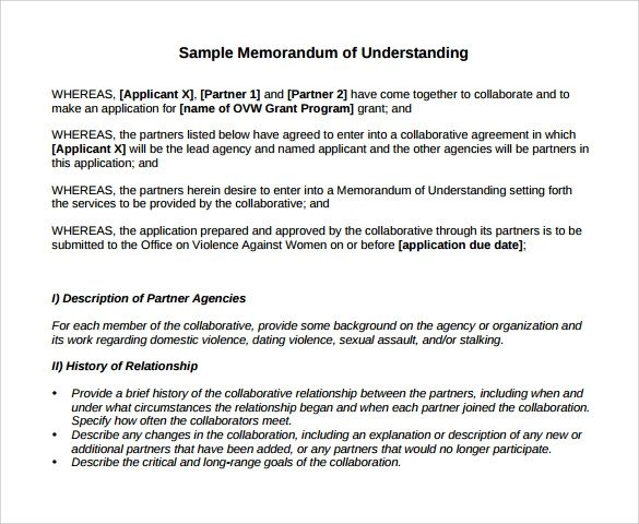Memo Of Understanding Template Memorandum Of Understanding Template 21 Download