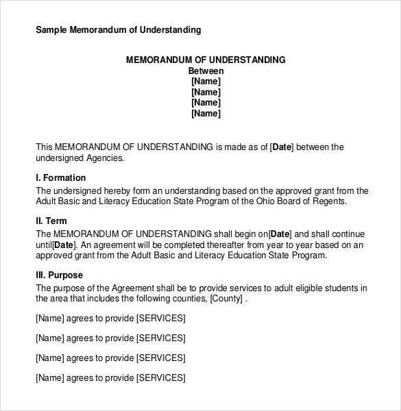 Memo Of Understanding Template Memorandum Of Understanding Templates – 30 Free Sample