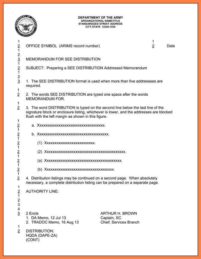 Memorandum for Record Army 5 Dod Letterhead Template
