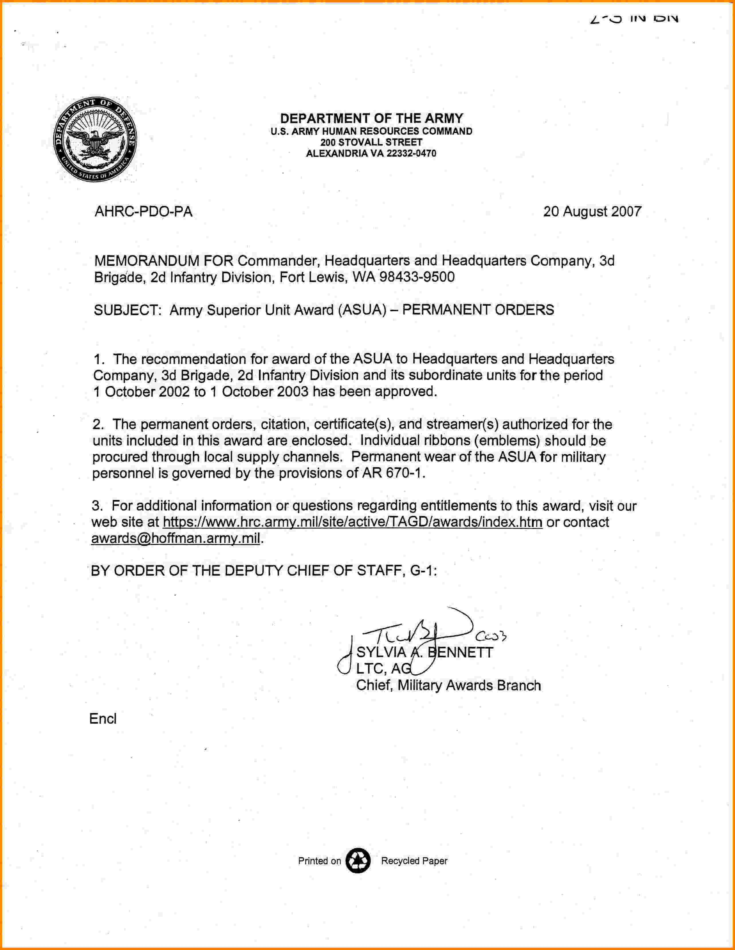 Memorandum for Record Army 6 Memorandum for Record Army