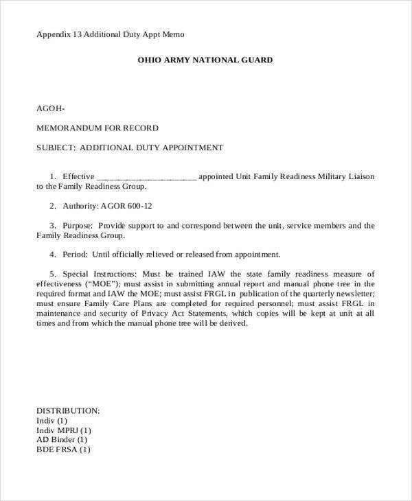 Memorandum for Record Army 8 Army Memorandum Templates Word Google Docs Apple