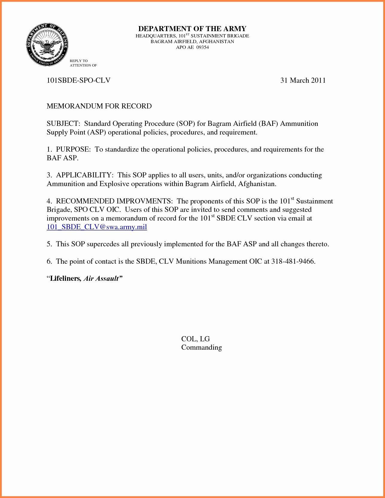 Memorandum for Record Army Army Memorandum for Record Template