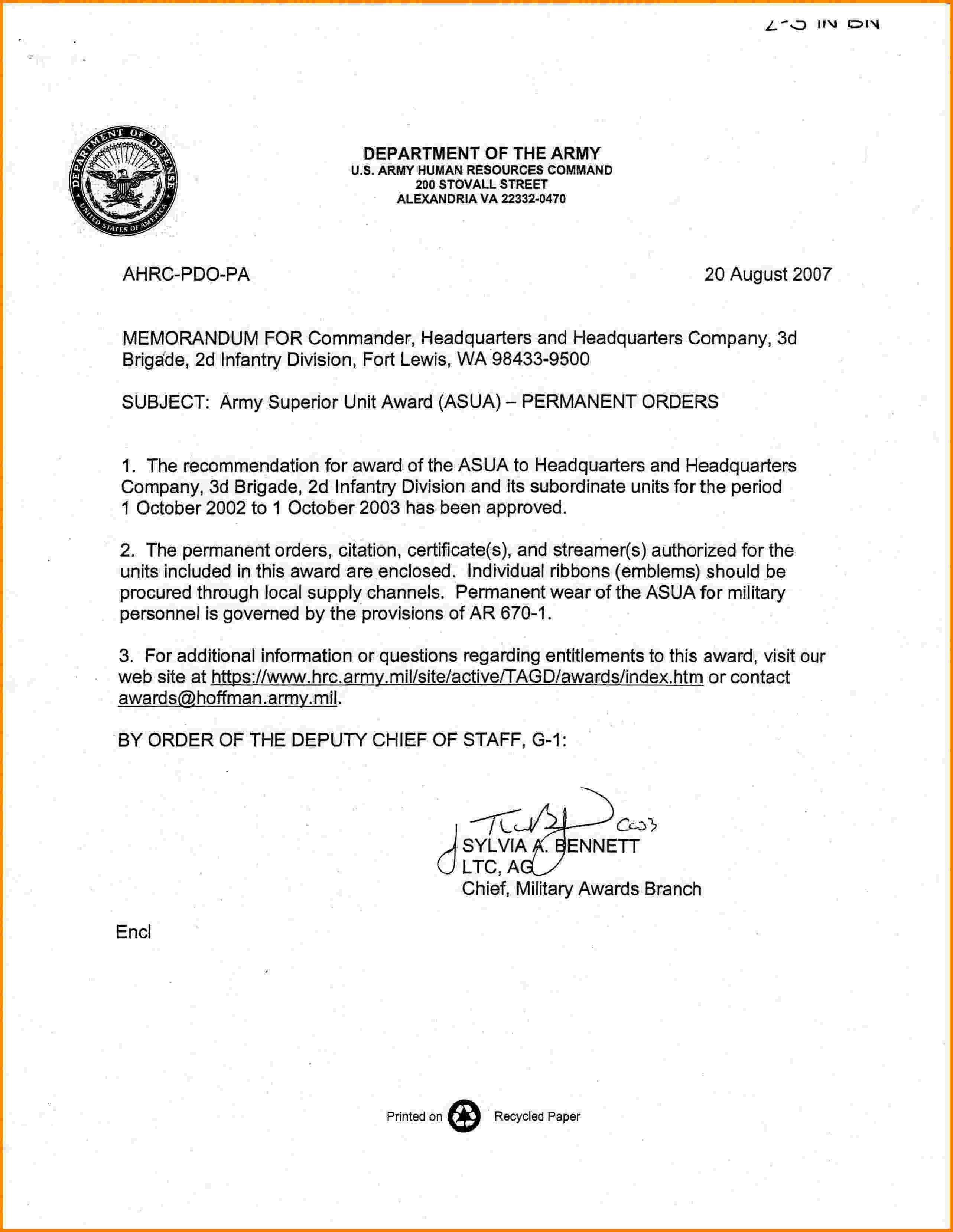 Memorandum for Record Army Memorandum format Army
