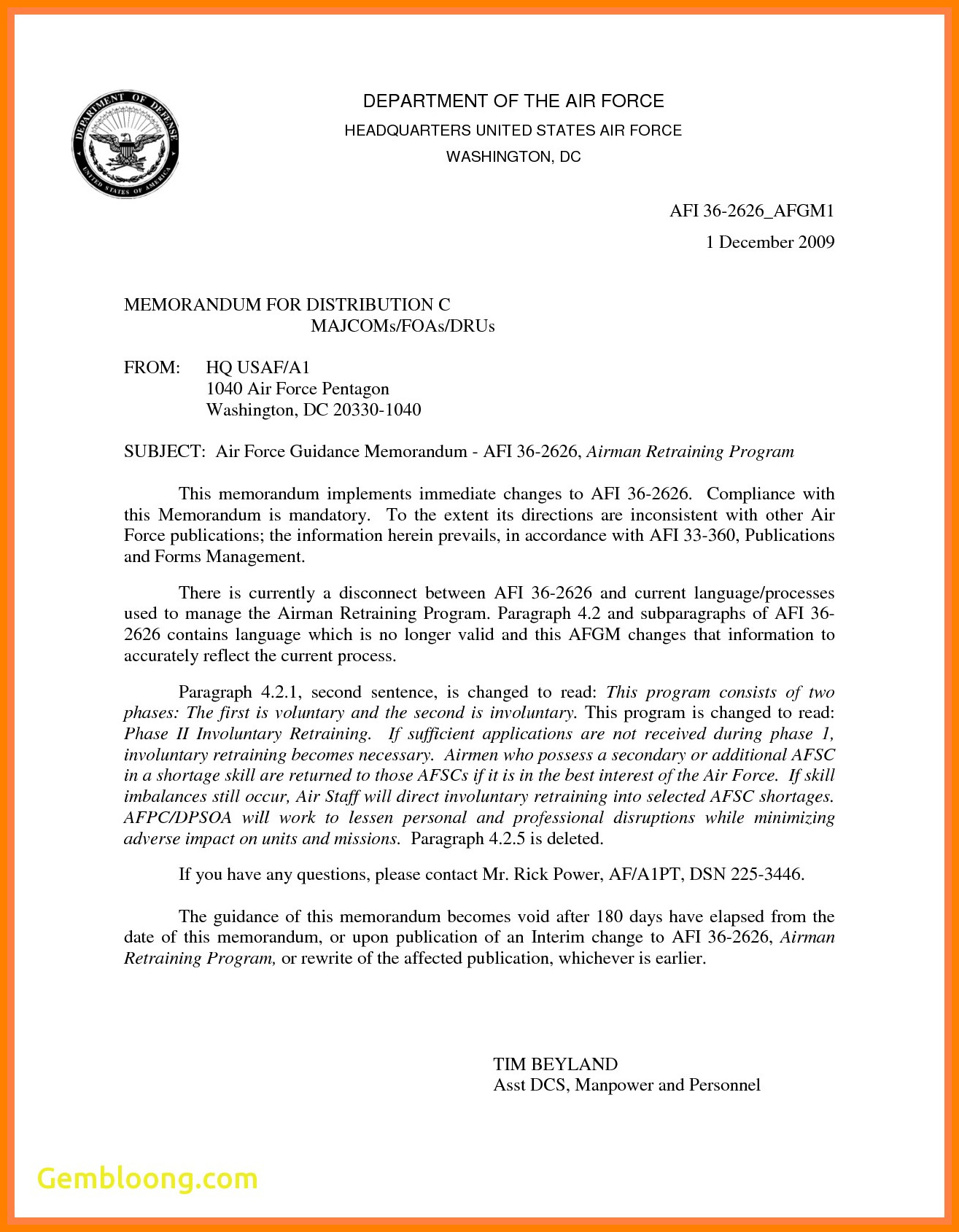 Memorandum for Record Template 8 Department Of Defense Letterhead Template