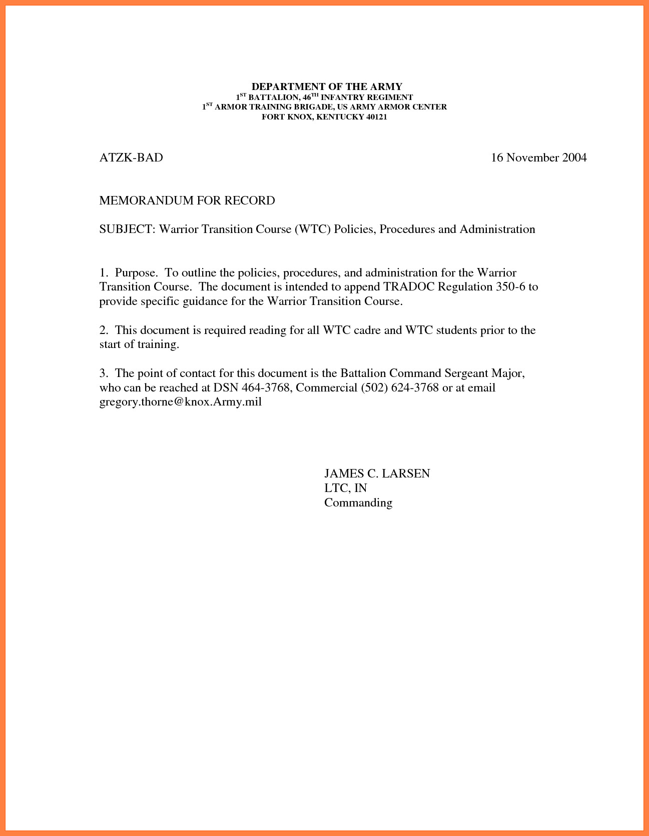 Memorandum for Record Template 9 Memorandum for Record Army