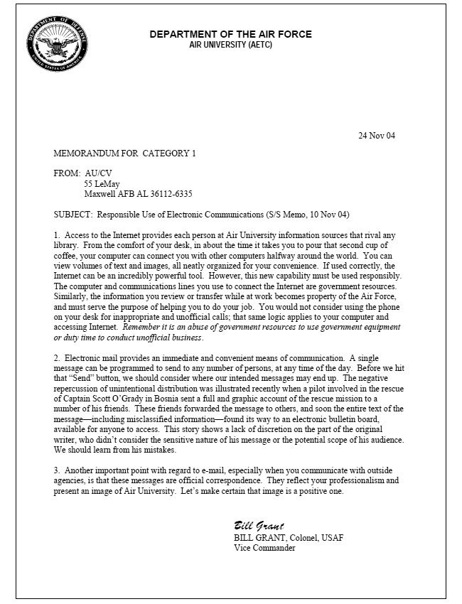 Memorandum for Record Template Air force Ficial Memorandum Template